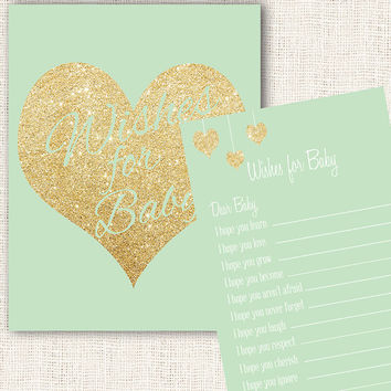 Wishes for baby game mint and gold baby shower with wishes for baby sign printable download diy gender neutral baby shower instant download