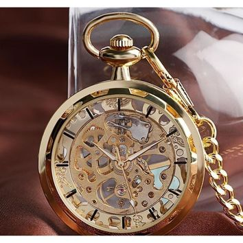 Men's Skeleton Mechanical Hand Wind Pocket Watch