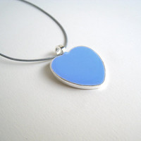 Baby Blue Heart necklace. Baby Shower gift, Newborn Baby boy, Mothers day gift. Custom color. Resin (liquid glass)