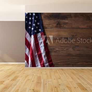 American Flag Brown Wood Siding Version 2 Wallpaper Peel and Stick