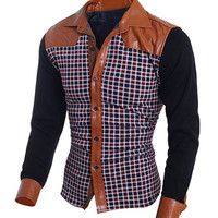 Color Block PU Leather Plaid Long Sleeves Shirt