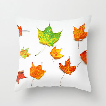 Autumn Leaves on White Throw Pillow Cover - Fall, Green, Red, Orange, Yellow