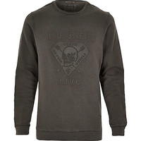 River Island MensBlack Jack & Jones Vintage rebel sweatshirt