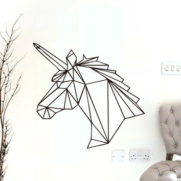 Geometric Unicorn Wall Sticker Removable Horse Head Vinyl Decals Home Decor For Kids Rooms Decoration New Design