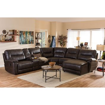 Baxton Studio Mistral Modern and Contemporary Dark Brown Bonded Leather 6-Piece Sectional with Recliners Corner Lounge Suite  Set of 1