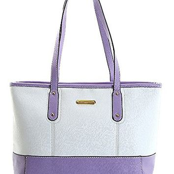 David Jones Two Tone Signature Fashion Tote Bag 14 1 2 In