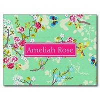 Girly Personalized Floral Post Card