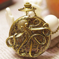 On Sale-Vintage Victorian Spider Web pearl Sea monster octopus Pocket Watch Necklace Chain D037