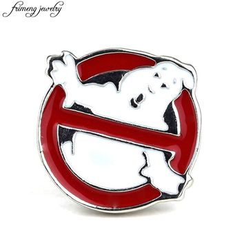 Popular Movie Ghostbusters Logo Brooch Pin Red Enamel Metal Brooches Fashion Jewelry Accessories For Men Women Badge Pin