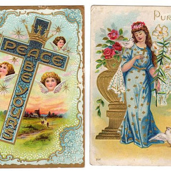 Antique Easter Postcards Purity Woman in Blue Gown 1910s Easter Cross Post Card with Angels, Crown, Helvey Nebraska, Clay Center Kansas