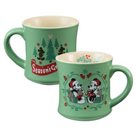 Disney by Vandor Mickey Minnie Holiday 12 oz Fluted Ceramic Coffee Mug New w Box