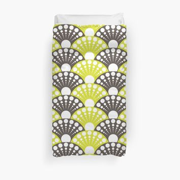 'polka dotted fan pattern in brown and lime' Duvet Cover by VrijFormaat