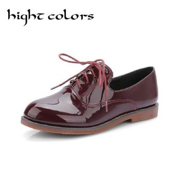 Size 43 New Patent Leather Round Toe Lace Up Women Oxfords Black Beige Wine Red Loafers Lace Up Moccasins Flats Shoes For Women