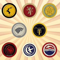 Game of Thrones Family Crests Set of 8 - 1 Inch Pinback Buttons or Magnets   lannister, stark, targaryen, tully, baratheon, arryn, greyjoy