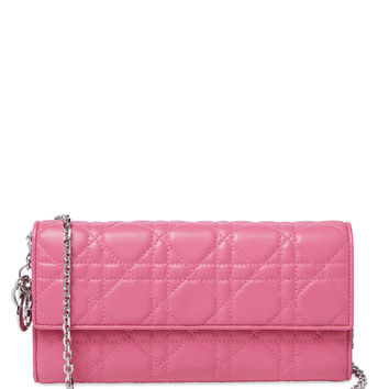 Christian Dior Women's Pink Lambskin Wallet On Chain - Pink