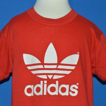 80s Adidas White Trefoil Logo t-shirt Youth Small