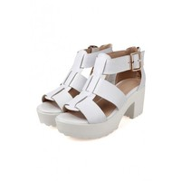 LUCLUC Black Buckle Strap Heavy Bottomed Sandals
