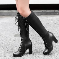 PXELENA Retro Punk Gothic Long Boots Women Lace Up Square High Heels Riding Knight Knee High Boots Female Shoes Fashion Footwear