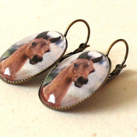 Horse head dangle earrings, oval dangle earrings, equine jewelry, bay arabian foal