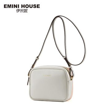 EMINI HOUSE Split Leather Mini Square Bag Crossbody Bags for Women Double-Side Color Small Shoulder Bag Women Messenger Bags