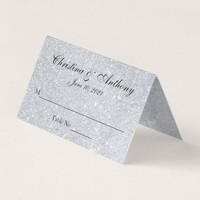 Silver Elegant Personalized Wedding Place Card