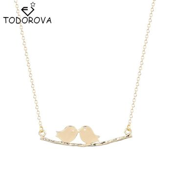 Todorova Lovely Animal Chain Necklace Simple Fashion Tree Branches Bird Pendant Necklace Brand Jewelry Christmas Gifts Bijoux