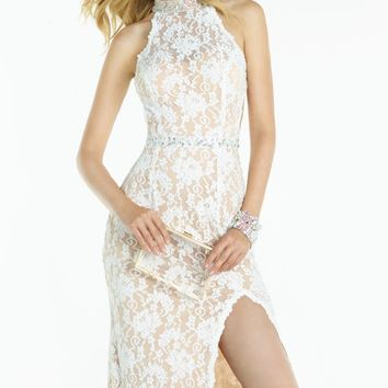 Beaded Lace Open Back Gown by Alyce Prom