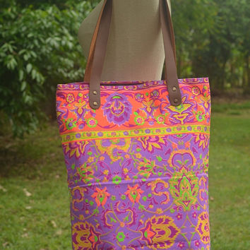 Paint bag, Colorful Neon Printed, Tribal bag, Vivid Tote bag, Canvas, Hobo, Hipie bag, Weekender bag, Beach bag Boho Bag Beach tote Tote Bag