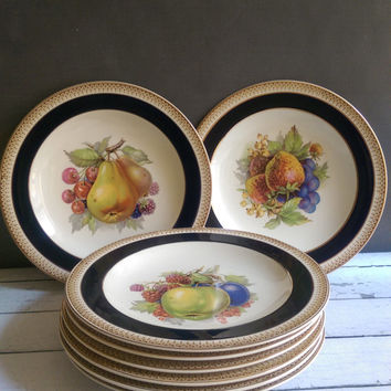 Crown Ducal Plates/ Vintage Crown Ducal Plates with Fruit/ Antique Dessert Plates/ Vintage Salad Plates/ Gold and Navy Plates