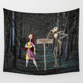 Halloween Town | Jack | Sally | Christmas | Nightmare Wall Tapestry by Azima