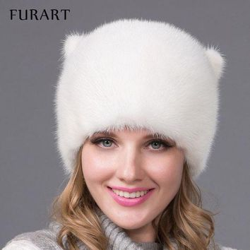 CREYCI7 Winter fur hat for women real mink fur cap with flowers style Russia fashion good quality ladies luxury headgear Mink tail DHY54
