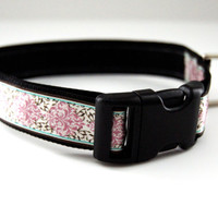 Pink Floral Dog Collar Adjustable Sizes (M, L, XL)