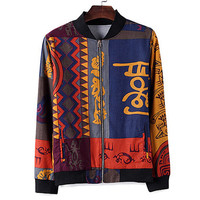 Vintage Print Mens Fashion Zip Varsity Jacket