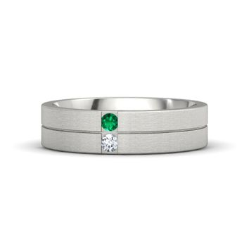 Men's Platinum Ring with Emerald & Diamond | Snake Eyes Band (6mm wide) | Gemvara