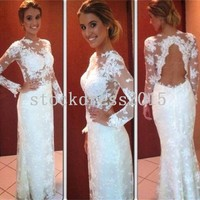 Sheath Applique Lace Long Sleeve Mermaid Sexy Backless Bridal Wedding Dress Gown