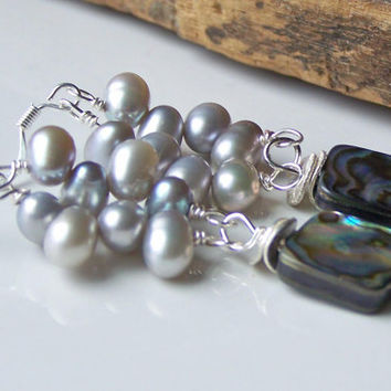 Etsy, Etsy Jewelry, Beaded Earrings, Freshwater Pearl Earrings, Abalone Shell and Pearl Earrings