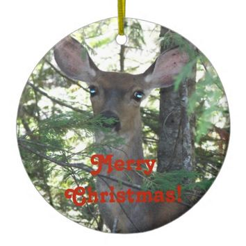 Forest Deer Christmas Ceramic Ornament