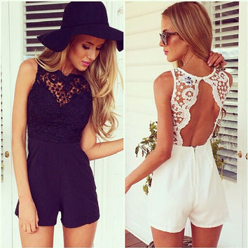 Sleeveless Deep V-Neck and Backless Crochet Lace Romper
