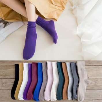 PEONFLY Fashion Women Mulit-color Socks Casual Ventilation Cotton Sock 2018 Autumn High Quality Solid Cute Pile Heap Sock Female