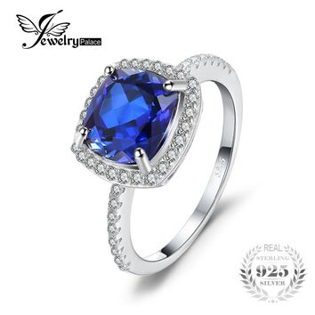 JewelryPalace Classic 3.53ct Cushion-Cut Created Blue Sapphire Engagement Wedding Ring For Womne 100 925 Sterling Silver Jewelry