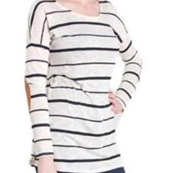 Vanilla Bay Stripe Tunic with Elbow Patch VT3886