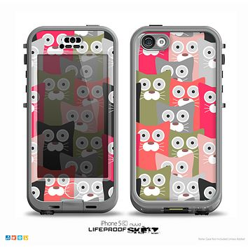 The Colorful Hypnotic Cats Skin for the iPhone 5c nüüd LifeProof Case