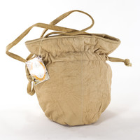 Leather Bucket Bag Camel Tan Pouch Crossbody Satchel Purse