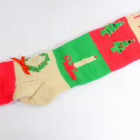 Vintage Knitted Christmast Stocking, Wool, Personalized Name Sean, Tacky Christmas Stocking