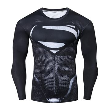 Roleplay Batman VS Superman Men's Sports T-shirt Compression Shirt 3D Print Long-sleeved Cosplay crossfit Black Tees Gym MMA Top