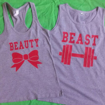 Free Shipping For US Beauty and the Beast Matching Couples Tank Tops/T Shirts: Light Gray with red Font