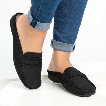 Perforated Loafers Flats - Black