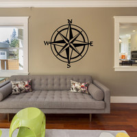 Nautical Compass Vinyl Wall Decal Sticker