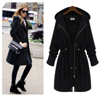 Echoine Women Slim Waist Trench Coat New Fashion Black Arm Green Plus Size Hooded Long Outwear Down Coats Manteau Femme 4XL