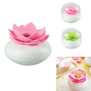 ESBYN5 2016 Toothpick Case  Lotus Flower Cotton Bud Holder Toothpick Case Cotton Swab Box Vase Decor